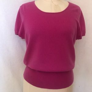 Pure Cashmere Lg dark pink  sweater short sleeve
